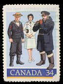 CANADA - CIRCA 1985: stamp printed by Canada, shows 1910 Gunner's Mate, World War II Officer, circa
