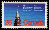 CANADA - CIRCA 1977: a stamp printed in the Canada shows Peace Tower, Parliament, Ottawa, 23rd Commo
