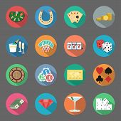 stock photo of roulette table  - Casino flat icons set veector graphic design elements - JPG