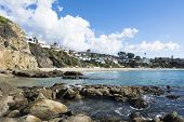 A scenic image of Crescent Bay in Laguna Beach, California on a beautiful winder day.