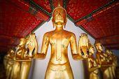Golden buddha statues in Wat Pho, Bangkok. Thailand.