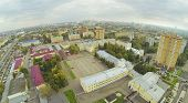 Army garrison with plateau in front of barracks. View from unmanned quadrocopter.