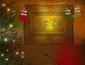 Christmas room with fireplace and Christmas tree 	Christmas room with fireplace and Christmas tree
