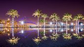 Vincent Thomas Bridge and Palm Tree reflections in San Pedro, Los Angeles, California.