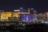 LAS VEGAS, NEVADA - November 27:  Night view of brightly lit resorts on the strip.  Vegas has 149,820 hotel rooms with a average daily rate of $115 on November 27, 2013 in Las Vegas, Nevada.