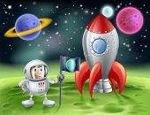 stock photo of outer  - An illustration of an outer space cartoon background with a cute cartoon astronaut planting an earth flag on an alien world with his shiny vintage rocket - JPG