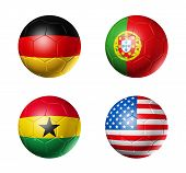 Germany, portugal, Ghana, USA, Flags On Soccer Balls