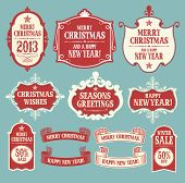Christmas design elements. Badges, labels and ribbons.