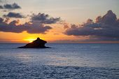 Hawksbill Rock located on the shores of Antigua in the Caribbean.
