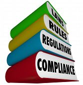 stock photo of financial audit  - Compliance Laws Rules Regulations Books - JPG