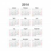 Simple calendar, 2014. Vector