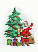 Santa Claus with some gift packages and a Christmas tree. Digital illustration.