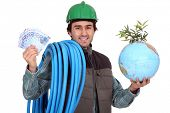 Plumber with cash and a globe