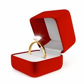 Gold Ring with Red Box
