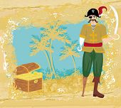Abstract Grunge Illustration With Pirate And Chest Full Of Gold