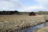 Old Barn Is Standing In The Field