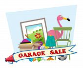 image of yard sale  - Cute garage sale banner with household items in the background - JPG