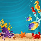 Vector illustration - Sea bottom  background