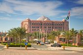 ABU DHABI, UAE - MARCH 29: Emirates Palace and gardens on March 29, 2014, UAE. Five stars Emirates P