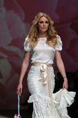 ZAGREB, CROATIA - MAY 09: Fashion model wearing clothes designed by Monika Sablic on the Zagreb Fash
