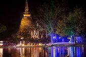 SUKHOTHAI, THAILAND, NOVEMBER 13: Outdoors Spectacle in Sukhothai historical park for the religious