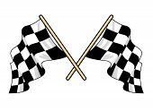 Crossed waving motor sport flags
