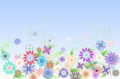 Digitally generated girly floral design on blue