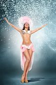 stock photo of samba  - Beautiful young samba dancer in pink stage costume - JPG