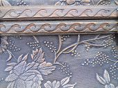 Close Up Texture Embossed Floral and Wave