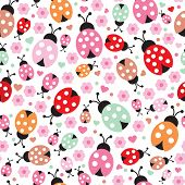 Seamless pastel kids lady bug polka dot illustration background pattern in vector