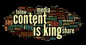 image of recommendation  - Content is king concept in word tag cloud on black background - JPG