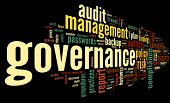 Governance and compliance in word tag cloud on black background