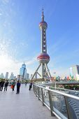 SHANGHAI, CHINA - APRIL 10, 2014: The Oriental Pearl Radio and TV Tower (468 m). Construction was co