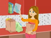 Illustration of a Girl Arranging Groceries in the Cupboard