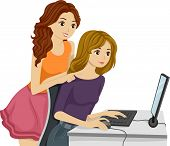 Illustration of Female Friends Checking the Computer Together