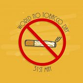 Anti Smoking concept with cigarette and stylish text on yellow background for World No Tobacco Day c