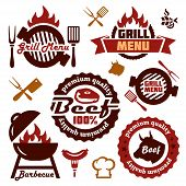 stock photo of grilled sausage  - Illustration Grill Menu Labels Set of in Flat Design Style - JPG
