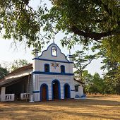 India. Goa. Small Catholic church in an ancient Cabo de Rama fort.