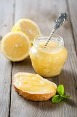 Homemade lemon curd with fresh lemons