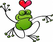 Green frog kneeling while in love