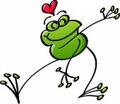 Frog in love dancing and celebrating
