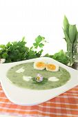 Herbs Soup With Eggs And A Dollop Of Cream