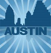 Austin skyline reflected with blue sunburst vector illustration