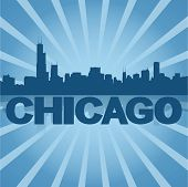 Chicago skyline reflected with blue sunburst vector illustration