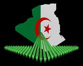 Arrow of people with Algeria map flag illustration