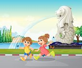 Illustration of the two kids playing near the statue of Merlion