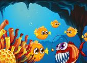 image of piranha  - Illustration of a group of puffer fishes and a scary piranha inside the cave - JPG