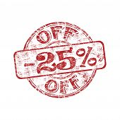 Twenty five percent off stamp