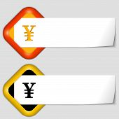 Set Of Two Icons With Paper On Note And Yen Sign