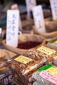 Exotic Foods On Display In Traditional Market In Japan.